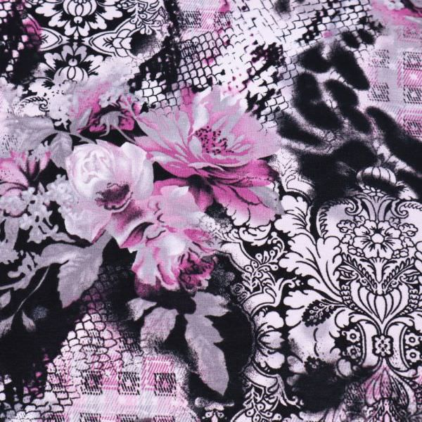 Viskosejersey Blumen & Ornamente - schwarz/weiss/grau/violett