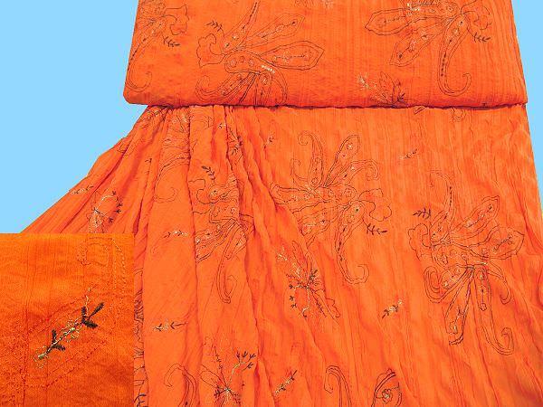 mit Blumenmotiv bestickter Chiffon - orange/braun/gold