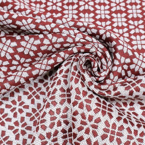 Jacquard Stoff mit Lurex&Muster - dunkelrot/wollweiss/silber