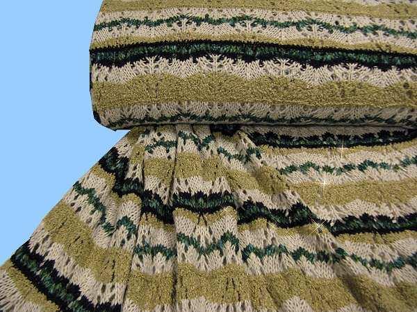 Woll- Strick grob Lurex & Muster - natur/wollweiss/dunkelgrün/gold (Reststück- 6,7m)