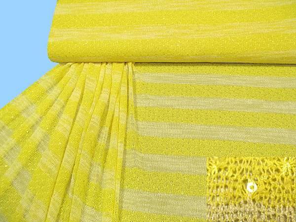 Feinstrick mit Pailletten - gelb/wollweiss