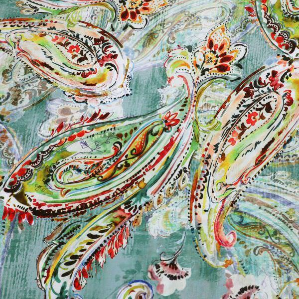 Seiden- Crêpe Aquarell Paisley - grün/mintgrün/rot/gelb/dunkelrot