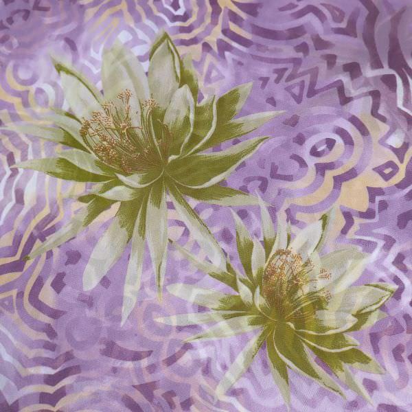 Chiffon mit Blumen-Motiv - flieder/apricot/hellgrün/kiwi