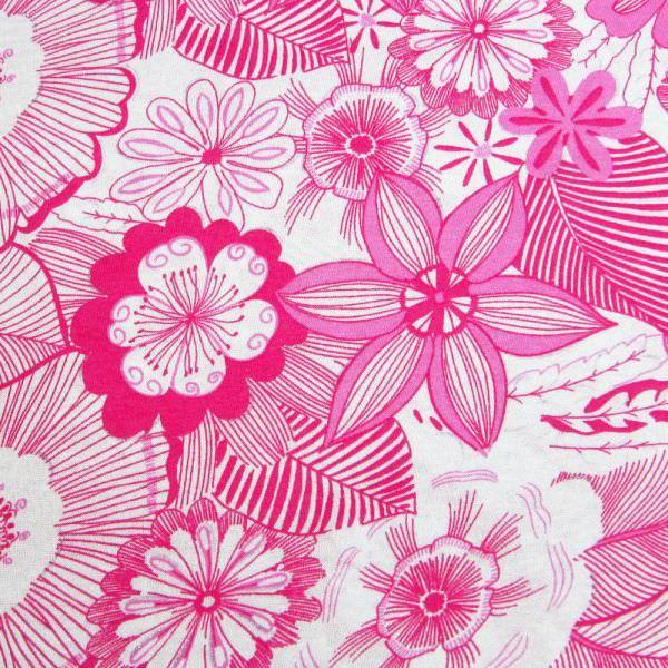 Viskose Feinstrick-Jersey mit Blumen & Glitzer - weiss/fuchsia/pink/silber