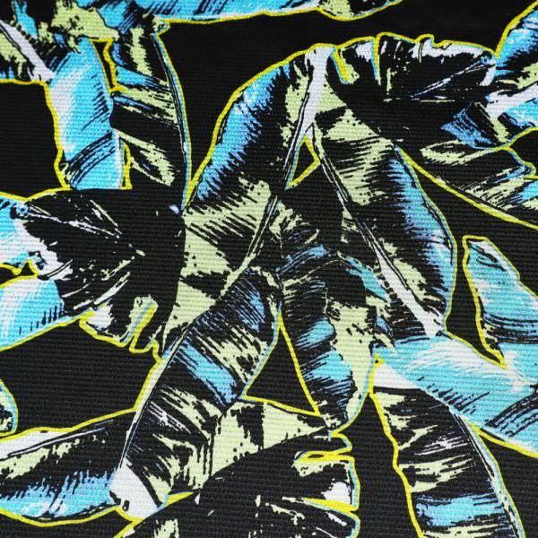 Krepp Satin Palmenblätter - schwarz/gelb/türkis/weiss
