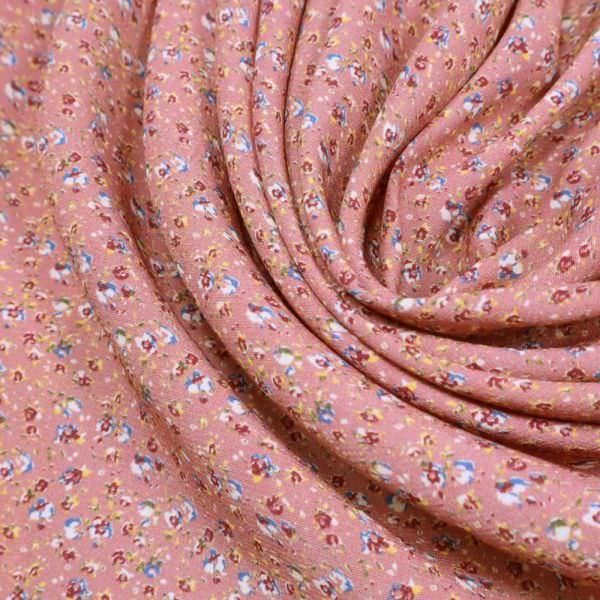 Viskose Crêpe mit Blümchen - altrosa/rot/apricot/blau/wollweiss