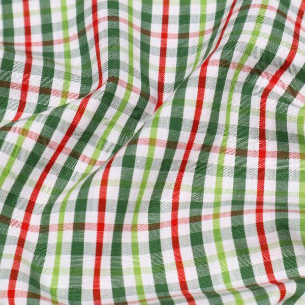 Baumwollstoff mit Karo - weiss/lindgrün/rot/dunkelgrün