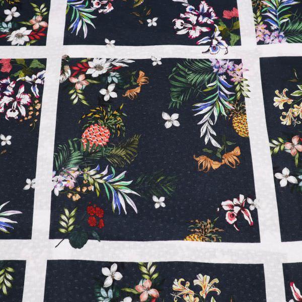 Viskosestoff Exotische Blumen & Karo - nachtblau/multicolor
