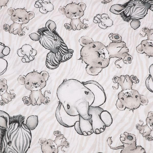 Kinderstoff Baumwollstoff Baby- Elefant, Zebra & Löwe - weiss/beige/grau/schwarz Öko-Tex Standard 10