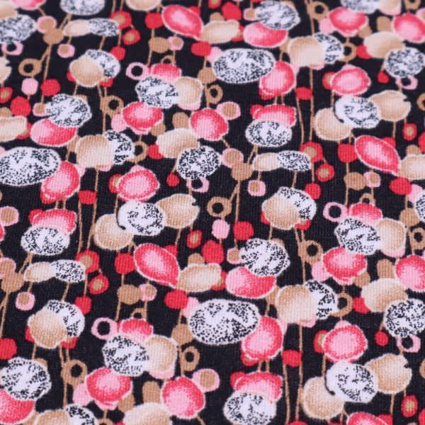Viskosejersey Fantasie Blumen - schwarz/rosé/himbeere/beige