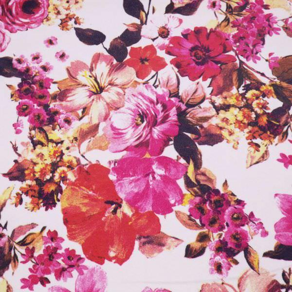 Stretch Feincord Blumen - wollweiss/fuchsia/rot/gelb/brombeere