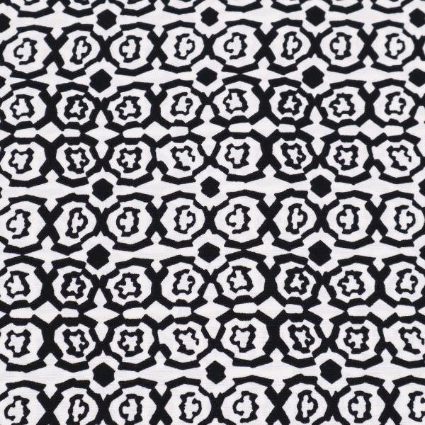 Blusen- und Kleiderstoff Mosaik - weiss/schwarz