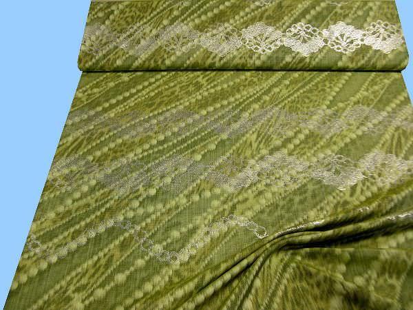 Kleider- und Kostümstoff mit eingewebtem Muster - grün/kiwi/olivgrün/silber