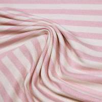 Sweatshirt Stoff Querstreifen - wollweiss/rosé (2.Wahl)