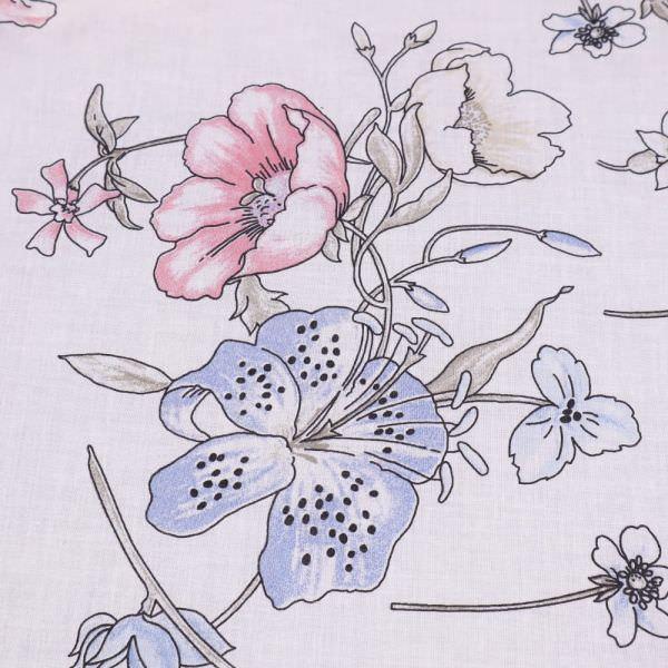 Baumwoll- Voile mit Lilien & Rosen - weiss/hellblau/rosé