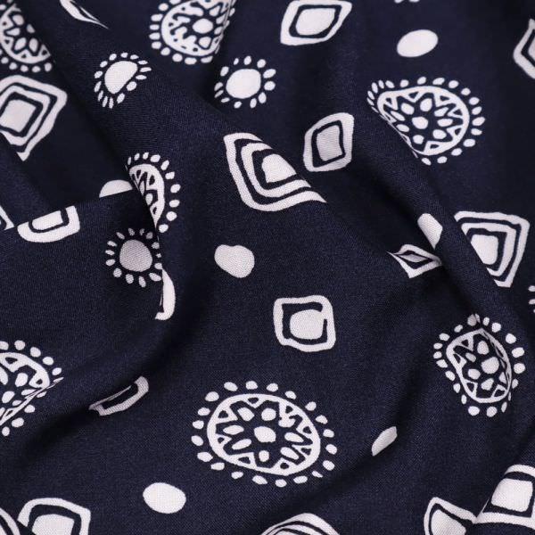 Viskosestoff mit Retro-Motiv - nachtblau/weiss