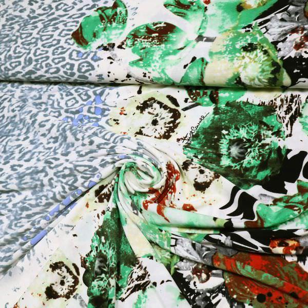 """Slinky-Jersey """"Blumen&Leopardenmuster"""" - weiss/rot/grün/hellgrau/rehbraun/schwarz"""