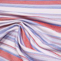 Grober Webstoff Streifen & Lurex - weiss/hellblau/rot/altrosa/neon