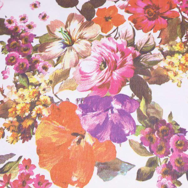 Stretch Baumwoll- Twill mit Blumen - wollweiss/gelb/orange/fuchsia