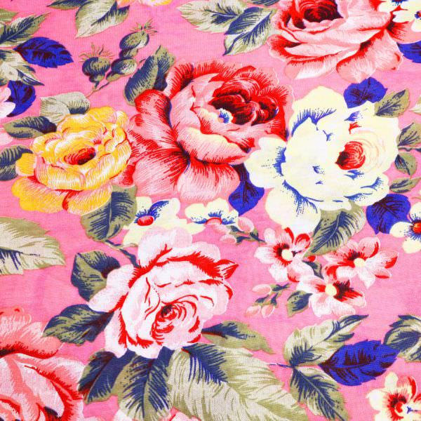 Baumwolljersey bunte Blumen - pink/rosé/rot/orange/gelb