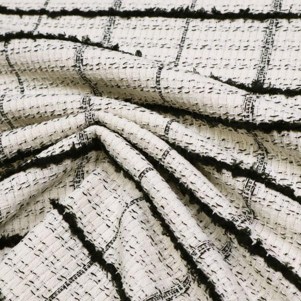 Bouclé Karo & Effektfäden - wollweiss/schwarz