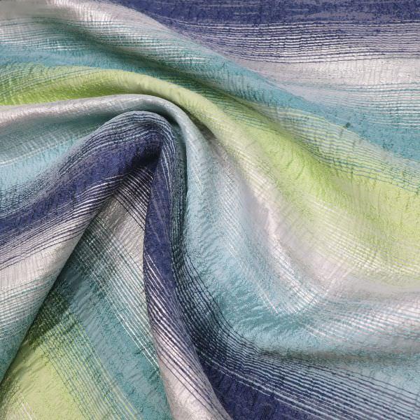 Kleiderstoff Taft Lurex & Aqua Streifen - dunkelblau/mintgrün/hellgrün/silber
