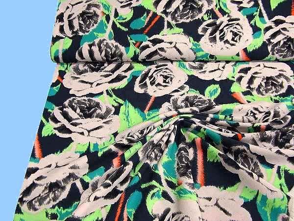 Crepégeorgette mit Blumen - beige/grün/lachs/marine/schwarz