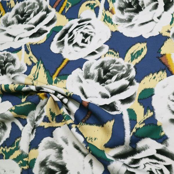 Crepe Georgette große Rosen - marineblau/beige/dunkelgrün/wollweiss