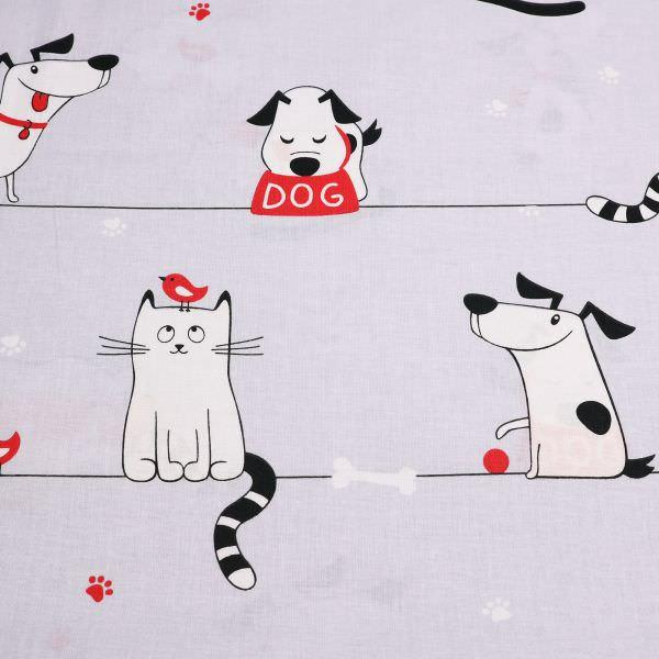 Kinderstoff Baumwollstoff Katze & Hund - hellgrau/weiss/schwarz/rot Öko-Tex Standard 100