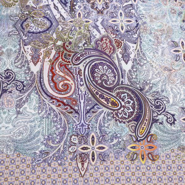 Crêpe Paisley & Ornamente PANEL - hellblau/olivgrün/mintgrün/dunkelblau