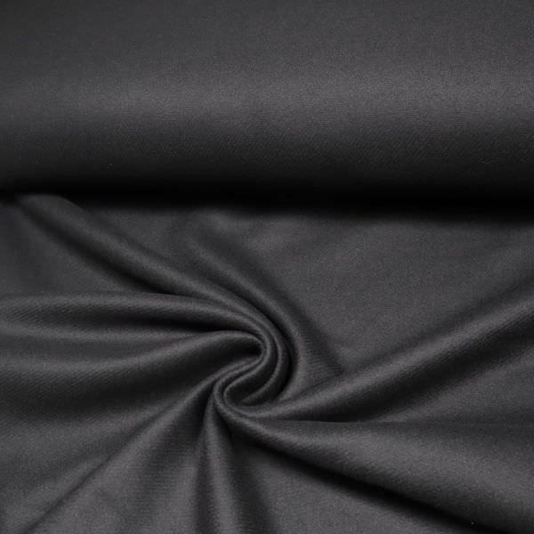 Kaschmir- Wollstoff uni - schwarz