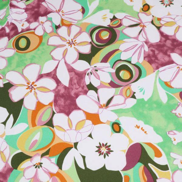 Blusenstoff Twill mit Blumen - weiss/grün/brombeere/orange/altrosa