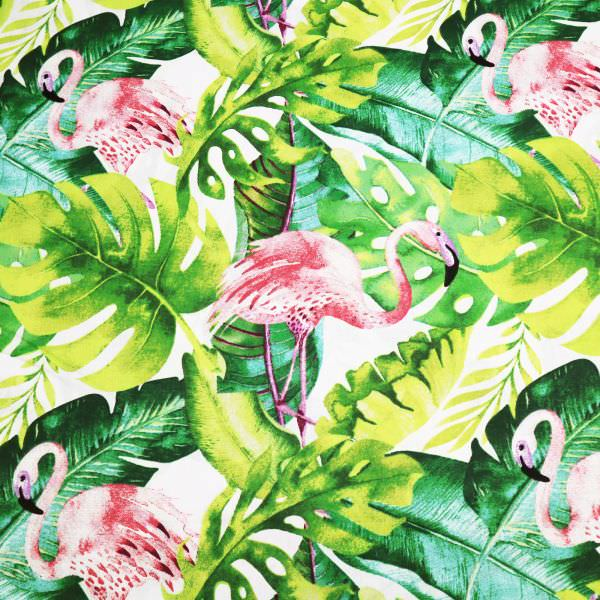 Baumwollstoff Flamingo & tropische Blätter - weiss/rosé/fuchsia/grün Öko-Tex Standard 100