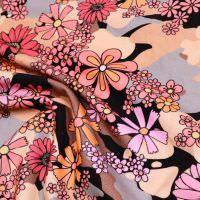 Feincord Babycord bunte Blumen - rosé/lachs/altrosa/koralle/braun