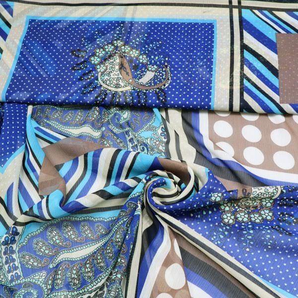 Crêpe Chiffon Paisley & Geometrische Muster - creme/türkis/royalblau/braun
