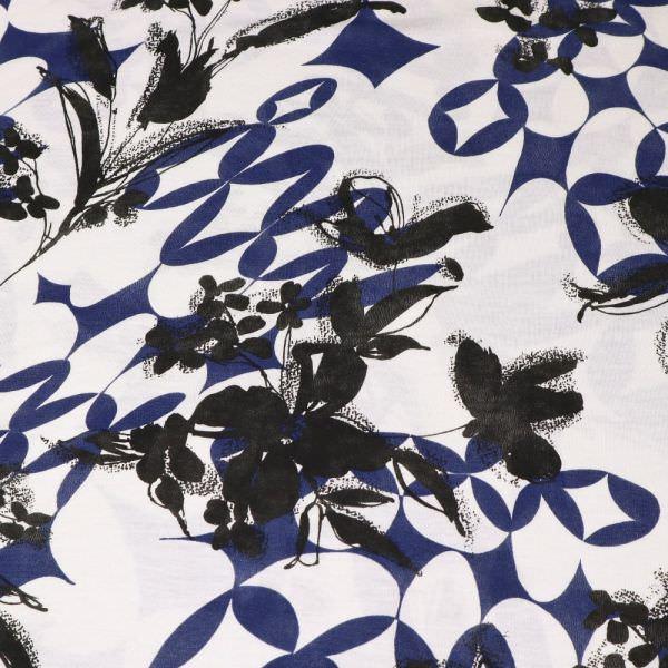 Viskosejersey Blumen - wollweiss/dunkelblau/schwarz