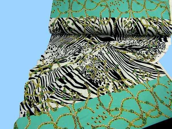 Feinjersey mit Perlenkette - wollweiss/grün/kiwi/goldgelb/beige/dunkelgrün/schwarz