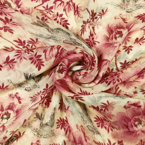 Seiden- Crêpe Chiffon mit Blumen-Motiv - creme/rosé/dunkelrot/khaki