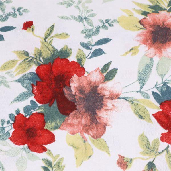 Sweatshirt Stoff mit Blumen-Motiv - wollweiss/rot/laltrosa/petrol