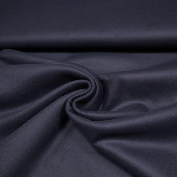 Kaschmir- Mantelvelour uni - dunkelblau