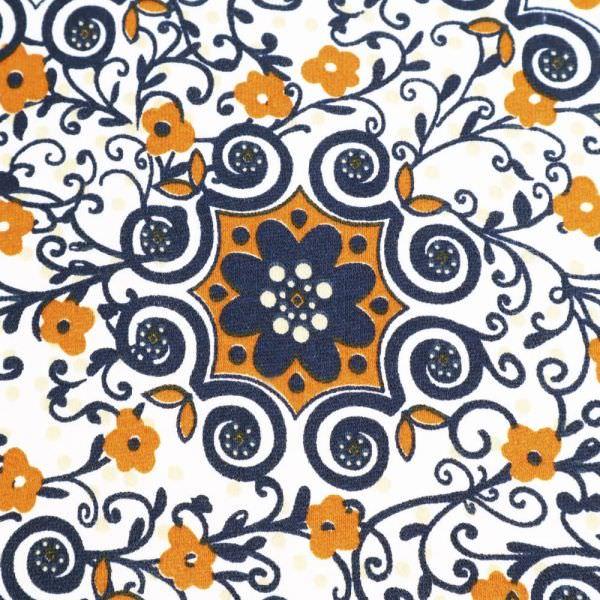 Sweatshirt Stoff Blumenranken - wollweiss/ocker/marineblau Extra breit !