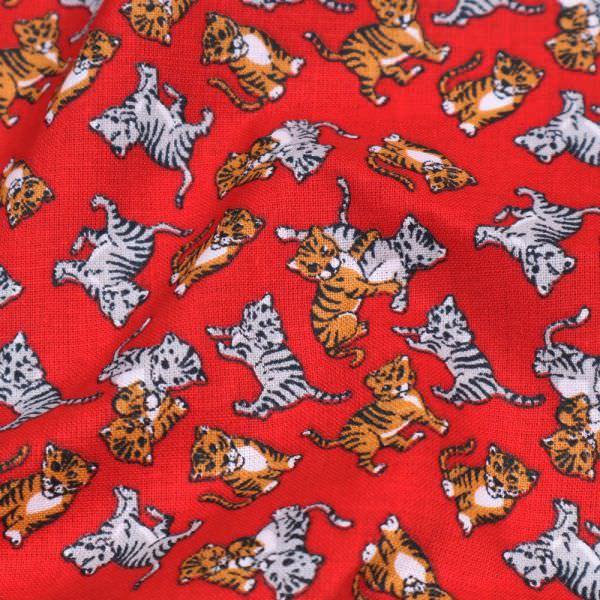 Baumwollstoff Tiger & Katze - rot/orange/grau/schwarz