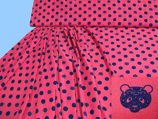 Blusen- und Kleiderstoff mit Punkten&Bären-Motiv - koralle/nachtblau