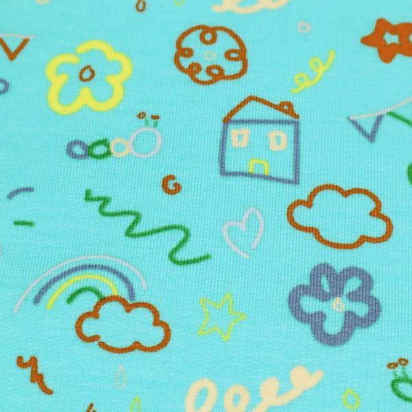 Sweatshirt Stoff mit Kindermotiven - türkis/gelb/apricot/koralle/grün/flieder