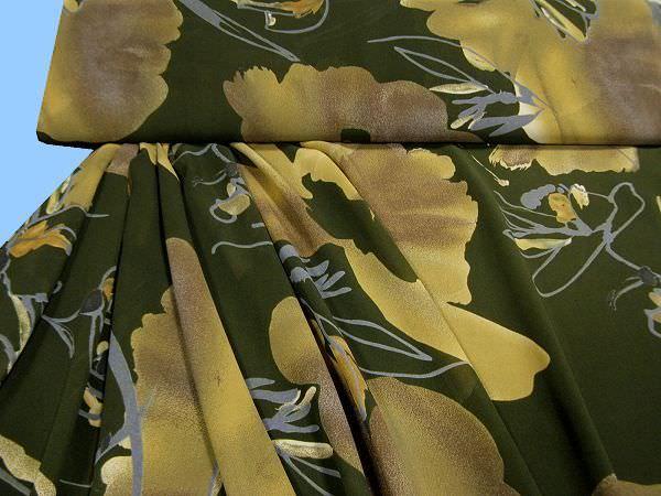 Blusen- und Kleiderstoff - dunkelgrün/braun/beige/taubenblau