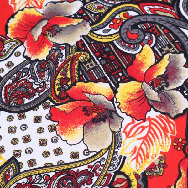 Baumwollstoff Paisley & Blumen - weiss/koralle/gelb/rot/grau/schwarz