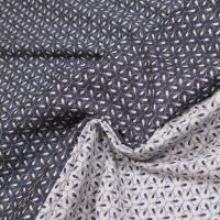 Stretch Jacquard kleines Muster - grau/blau/weiss