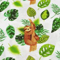 Kinderstoff Baumwollstoff Faultiere - wollweiss/braun/hellgrün/grün Öko-Tex Standard 100