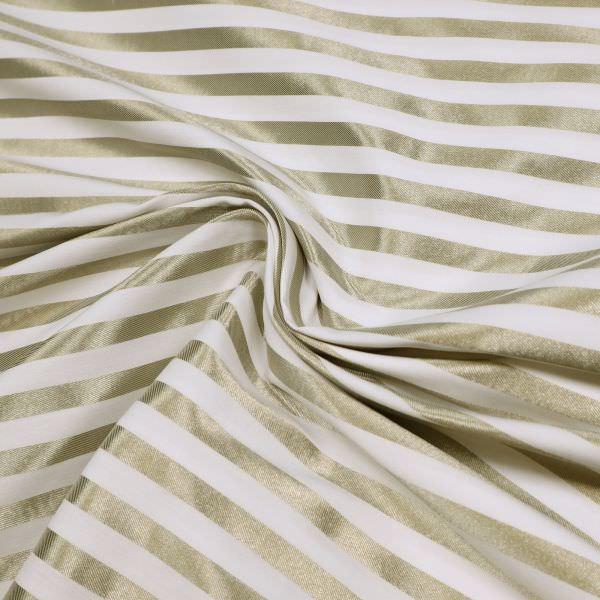 Stretch Baumwolle-Polyester Mix Glanzstreifen - wollweiss/goldbeige