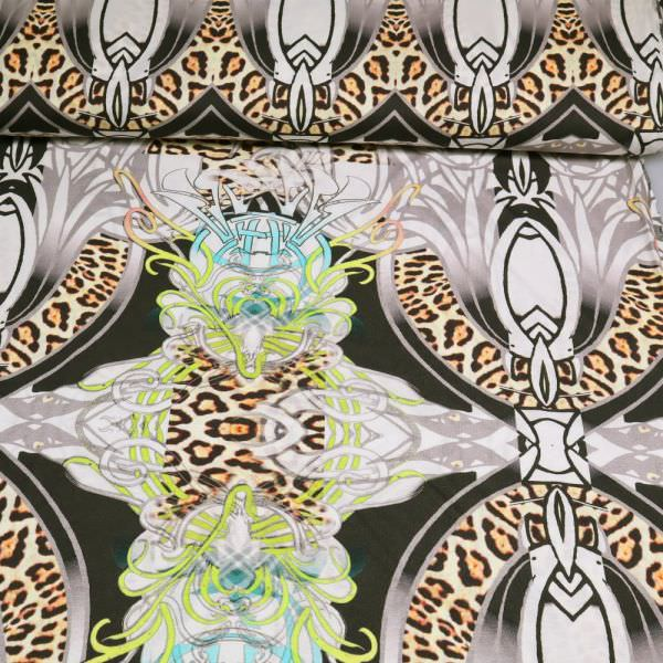 Baumwoll-Modal Jersey mit Ornament&Leoparden-Motiv - wollweiss/braun/gelb/türkis/schwarz